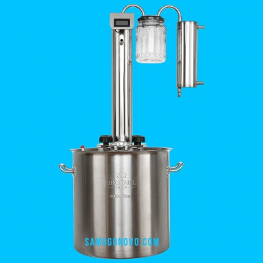 Дистиллятор фланцевый на 20 литров с вертикальной царгой с банкой-сухопарником с электронным цифровым термометром