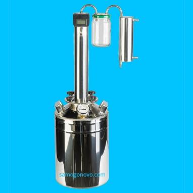 Дистиллятор фланцевый на 13 литров с вертикальной царгой с банкой-сухопарником с электронным цифровым термометром