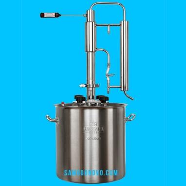 Дистиллятор фланцевый на 37 литров с вертикальной царгой дефлегматором рубашечным, на клампе 1,5