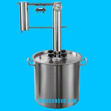 Дистиллятор фланцевый на 50 литров с вертикальной царгой с банкой-сухопарником УЛУЧШЕННЫЙ