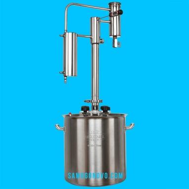 Дистиллятор фланцевый на 50 литров с вертикальной царгой на клампе 1,5, с 2мя от отстойниками