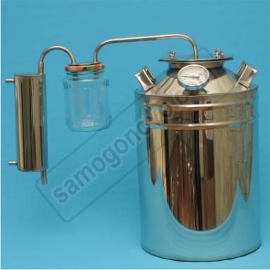 """Бытовой дистиллятор  """"Умелец"""" на 20 литров фланцевый с сухопарником-банкой для индукционных плит"""