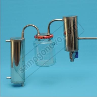 Простейший самогонный аппарат-змеевик  с двумя сухопарниками металлическим и банкой