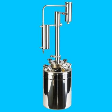 Дистиллятор фланцевый на 20 литров с вертикальной царгой на клампе 1,5, с 2мя от отстойниками